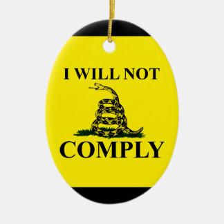 ¡Diga NO al comunismo! Adorno Navideño Ovalado De Cerámica