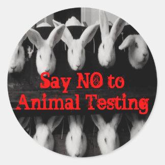Diga no al pegatina de los ensayos con animales