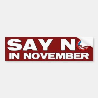 Diga no en noviembre - a Obama anti Pegatina Para Auto