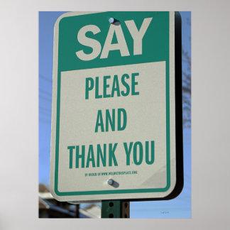 Diga por favor y gracias póster