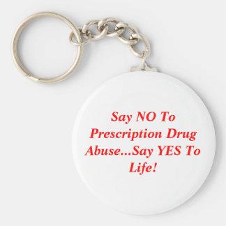 Diga que NO al abuso del medicamento de venta con  Llavero Redondo Tipo Pin