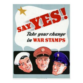 Diga sí a los sellos de la guerra tarjeta postal