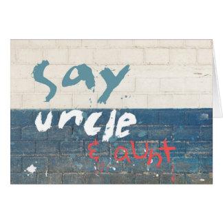 Diga tío y a tía Customizable Graffiti Tarjeta De Felicitación