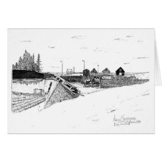 Digby Nova Scotia, Canada Fishing Boats, Pen & Ink Greeting Card