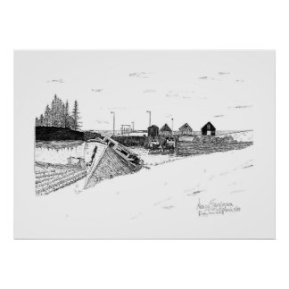 Digby, Nova Scotia Fishing Boats Pen & Ink Poster