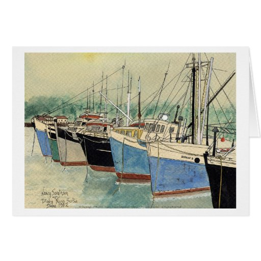 Digby, Nova Scotia, Fishing Boats, Watercolor Greeting Cards