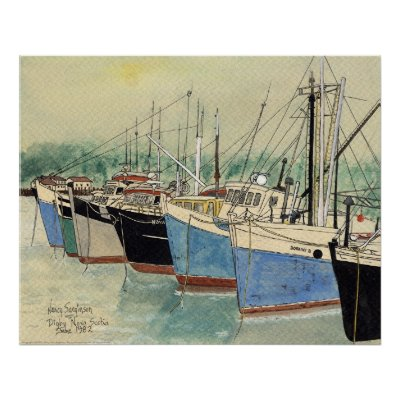 Digby, Nova Scotia, Fishing Boats, Watercolor Posters by dragling