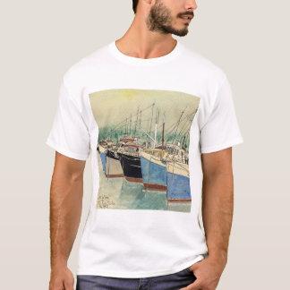 Digby, Nova Scotia, Fishing Boats, Watercolor T-Shirt