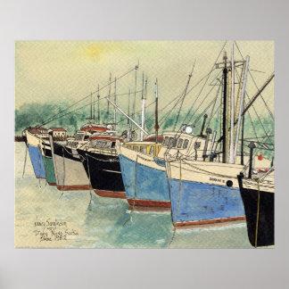 Digby, Nueva Escocia, barcos de pesca, acuarela Impresiones
