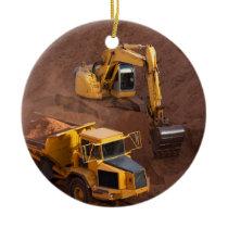 Digger and Dump Truck Ceramic Ornament