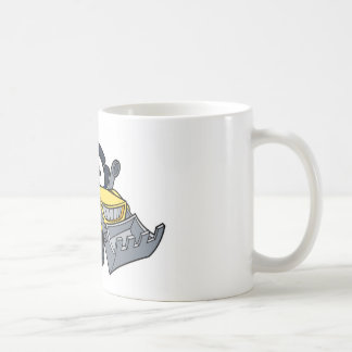Digger Bulldozer Cartoon Character Coffee Mug