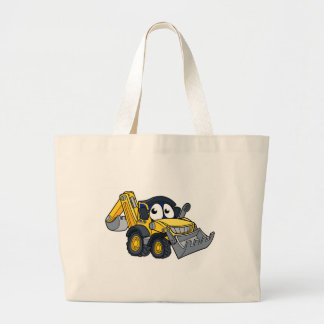 Digger Bulldozer Cartoon Character Large Tote Bag
