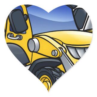 Digger Bulldozer Cartoon Heart Sticker