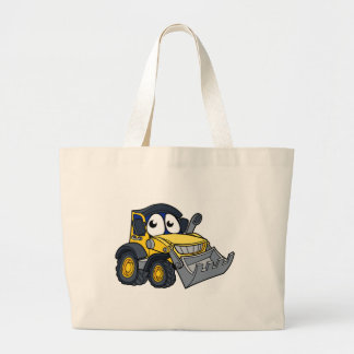 Digger Bulldozer Cartoon Mascot Large Tote Bag