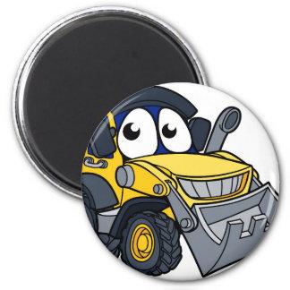 Digger Bulldozer Cartoon Mascot Magnet