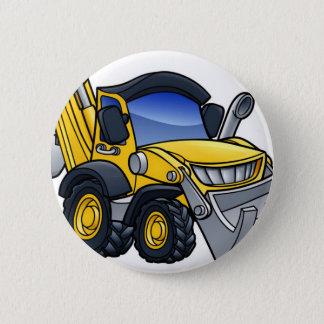 Digger Bulldozer Cartoon Pinback Button