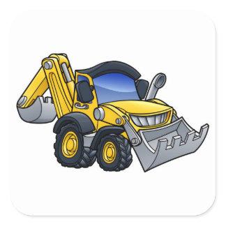 Digger Bulldozer Cartoon Square Sticker