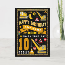 Digger Construction Personalized Birthday Card