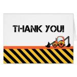 Digger Construction Thank You Cards