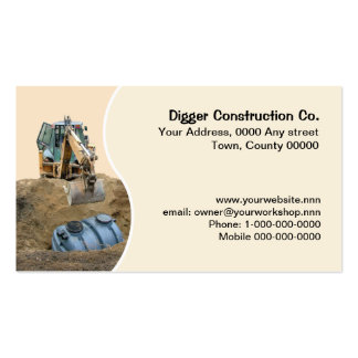 Digger installing septic tank business card