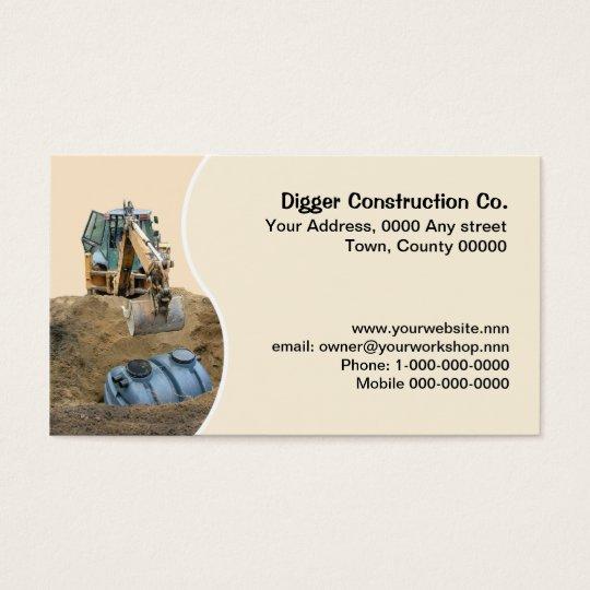Digger installing septic tank business card