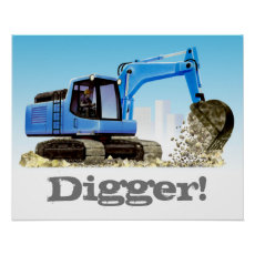 Digger or Excavator Custom Kids Construction Poster