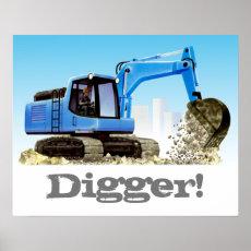 Digger or Excavator Custom Kids Construction Poster