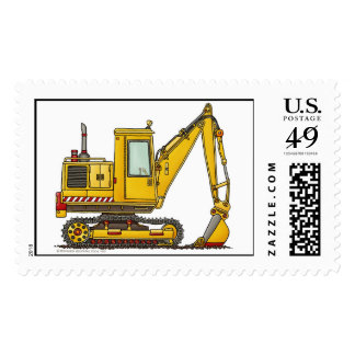 Digger Shovel Construction Stamps