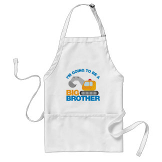 Digger Truck Going To Be A Big Brother Adult Apron