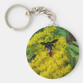 Digger Wasps on Goldenrod Keychain