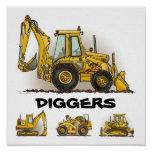 Diggers Backhoe Dozers Construction Poster Print