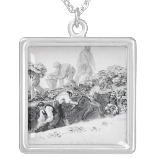 Digging a hole for the foundations silver plated necklace