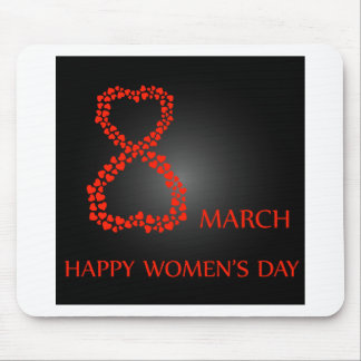 Digit 8 with red hearts- international womens day mouse pad