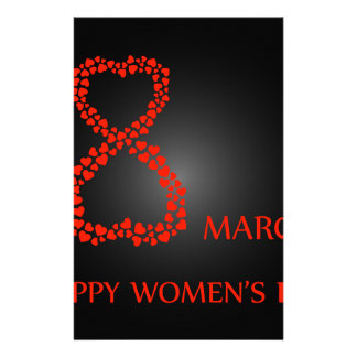 Digit 8 with red hearts- international womens day stationery