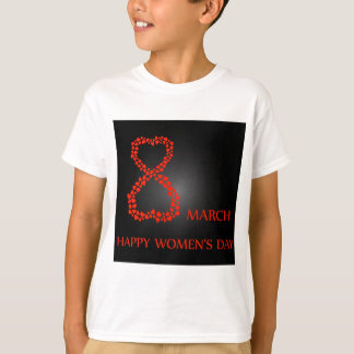 Digit 8 with red hearts- international womens day T-Shirt