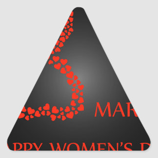 Digit 8 with red hearts- international womens day triangle sticker