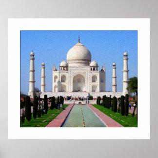 Digitaces que pintan el Taj Mahal Póster