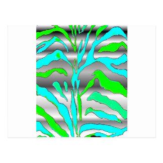 Digital abstract animal print blue green silver. postcard