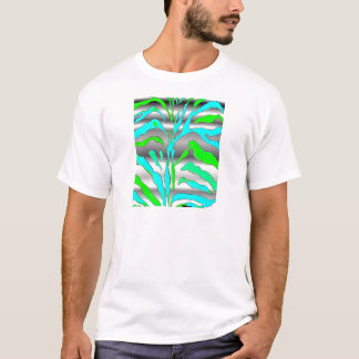Digital abstract animal print blue green silver. T-Shirt