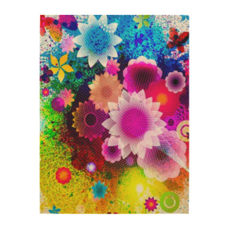 Digital Abstract Flower Collage Airbrush Art Wood Print