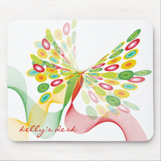 Digital Abstract Retro Dots Modern Art Butterfly Mouse Pad