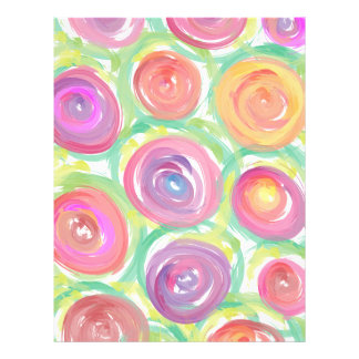 Digital Abstract Roses Watercolor Letterhead