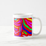 Digital animal pattern in red yellow blue coffee mugs