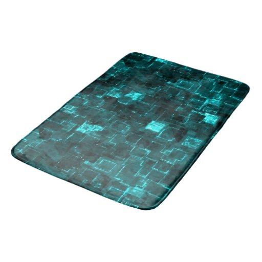 Digital Aqua Glimmer Tiles Bathroom Mat Zazzle