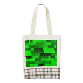 Digital Art Abstract Green Rectangles Zazzle HEART Tote Bag