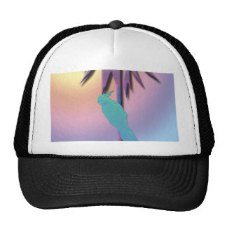 Digital Art Design of Cockatiel on Tropical Palm Trucker Hat