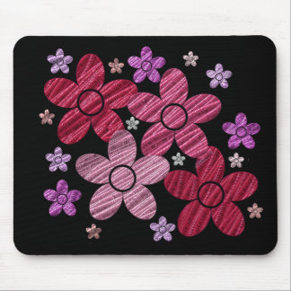 Digital Art Floral Explosion on Black Mousepad