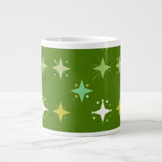 Digital Art Gliftex Abstract Green Stars 20 Oz Large Ceramic Coffee Mug