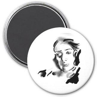 Digital Artistic Ink Woman Black & White 3 Inch Round Magnet