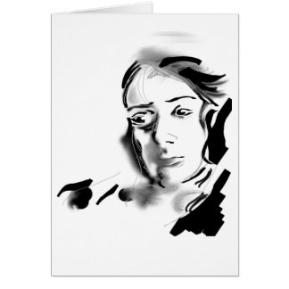 Digital Artistic Ink Woman Black & White Greeting Cards